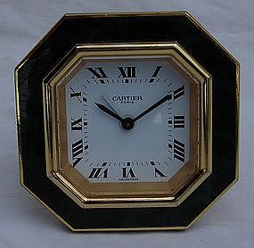 Cartier Clock Alarm Travel Malachite