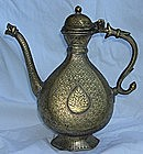 Antique Northern India Mughal Brass Ewer 18th C.