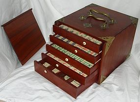 Antique Chinese Mah Jong Set in Rosewood Box