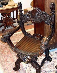 Antique Japanese Meiji Carved Wood Chair 19th C.