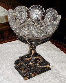 Antique French Marble Garnitures & Crystal Pair 19th C.