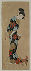 Japanese Antique Painting Beauty and Puppy Edo 18th C.