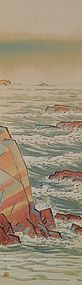 Japanese Painting Sea Landscape by Maeda Tekison