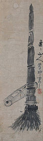 Antique Zen Buddhist Painting, Kanzan & Zittoku