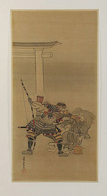 Antique Japanese Painting Samurai by Eishin Edo