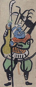 Antique Japanese Otsu-e Otsu painting circa 19/20th C.