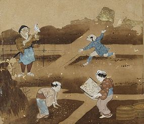 Antique Japanese Painting Album Nara-ehon 17th C