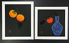 Haku Maki two persimmon diptych  1980s