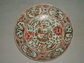 MING SWATOW POLYCHROME DISH