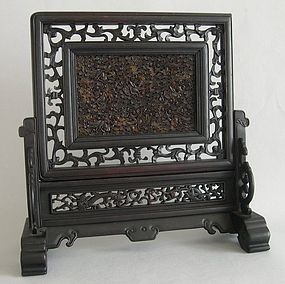 Chinese table screen with tortoiseshell panel