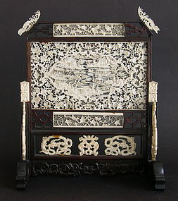 Chinese ivory table screen with rare pierced carving