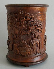 Chinese bamboo brush pot bitong