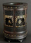 Chinese bamboo brush pot with pierced decoration