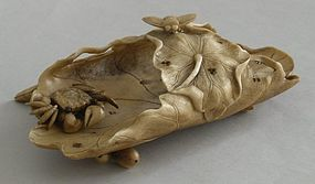 Japanese stag antler carving of lotus petals