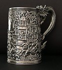 Chinese silver tankard by Lee Ching