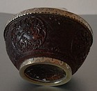 Chinese carved coconut bowl 1850