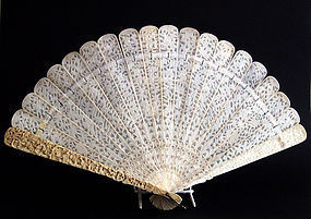 Canton ivory fan double-sided