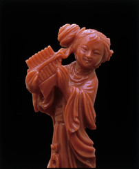 Chinese Coral carving of a maiden
