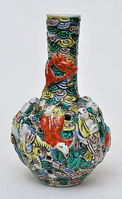 A Chinese Porcelain Vase with 18 Luohans