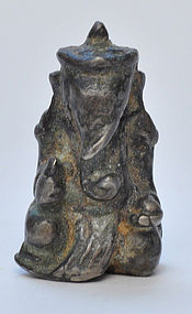 A Thai Lead / Silvery Alloy of a Seated Ganesha