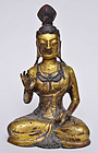 A Rare Chinese Liao Dynasty Gilt Bronze Bodhisattva