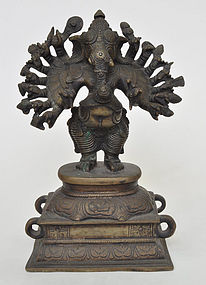 A Bronze 16-Armed Standing Ganesha