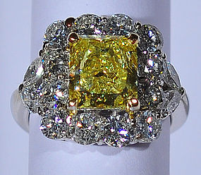 A 2.28 ct Fancy Intense Yellow Natural Diamond Ring