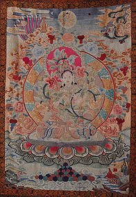 A Thangka Embroidery of a Seated Bodhisattva