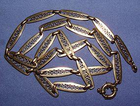 10K Yellow Gold Art Nouveau Necklace 24