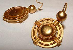 Victorian 18K Gold Antique Etruscan Earrings c1880
