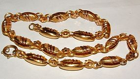 Victorian 14K Gold Bookchain Watch Chain Necklace c1880