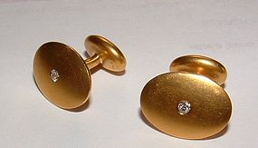Retro Vintage 14K Yellow Gold Diamond Cufflinks