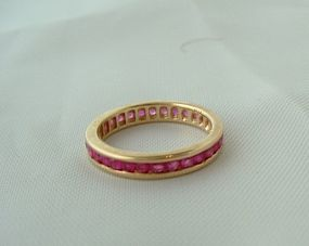 14K Yellow Gold Ruby Eternity Anniversary Band Ring 6.7