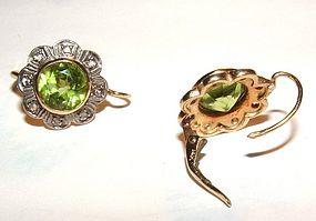 Victorian 14K Gold Peridot Diamond French Back Earrings