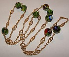 Antique 14K Gold French Chain w Murano Glass Beads