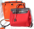 Authentic Hermes Herbag Backpack Handbag Red & Orange