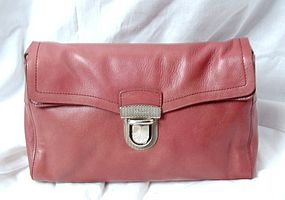 Authentic Prada Pink Taupe Leather Shoulder Handbag