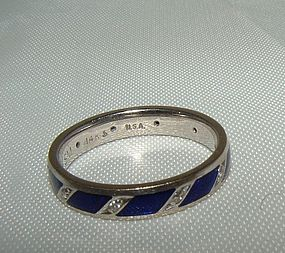 14K White Gold Cobalt Blue Enamel Diamond Eternity Ring