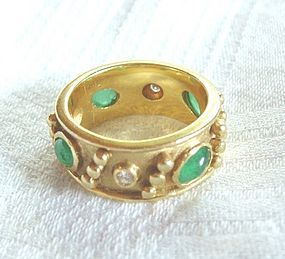 Vintage Etruscan 18K Emerald Diamond Eternity Ring