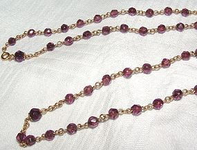 Vintage 14K Gold Amethyst Bead Chain Necklace 25 Inches