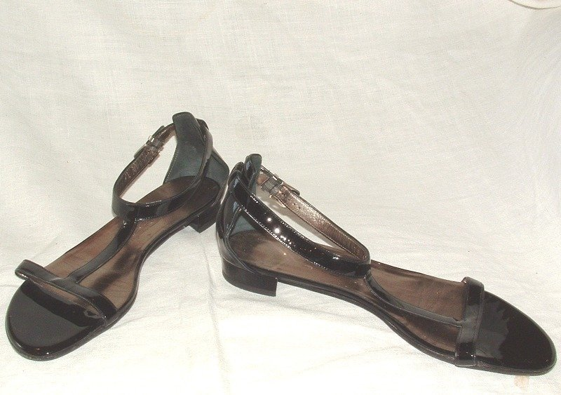 Authentic FERRAGAMO Flat Patent Leather T Strap Sandals
