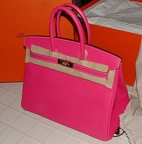 Auth NEW Hermes Birkin Bag 35cm Gold HW Rose Tyrien