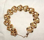 "18K Yellow Rose Gold Link Retro Bracelet 8.12"" Long"