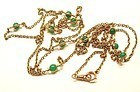 14K Yellow Gold Watch Chain w Chrysoprase Beads 68""