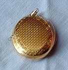 14K Gold Chatelaine Locket Compact w Sapphire Clasp