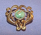 Art Nouveau 14K Yellow Gold Turquoise Watch Pin