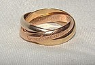 Authentic Cartier Trinity 18k Gold Rolling Ring