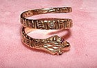 Victorian 14K Yellow Gold Garnet Carved Snake Ring