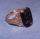 Victorian 14K Yellow Gold Black Intaglio Ring
