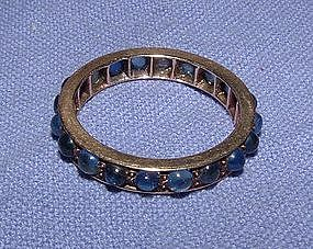 14K Yellow Gold Cabochon Sapphire Eternity Ring
